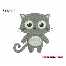 Cat Gray Embroidery Design