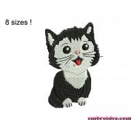Cat Little Black Embroidery Design