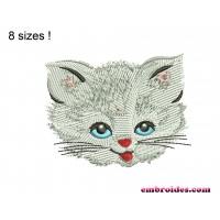 Cat Little White Embroidery Design