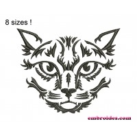 Image Cat Monochrome Embroidery Design