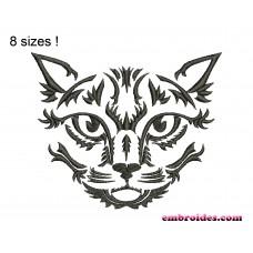 Image Cat Monochrome Embroidery Design