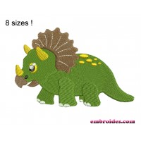 Image Dinosaur Triceratops Embroidery Design