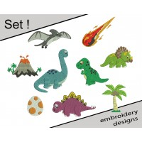 Dinosaurs Embroidery Design Set Embroidery Design
