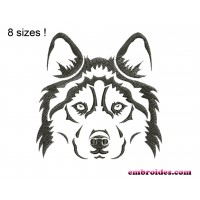 Dog Husky Monochrome Embroidery Design