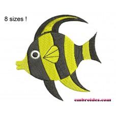 Fish Black Embroidery Design