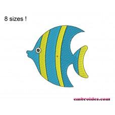 Fish Blue Embroidery Design