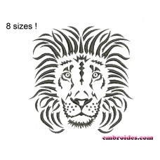 Lion Monochrome Embroidery Design