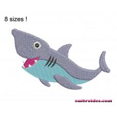 Shark Cute Embroidery Design