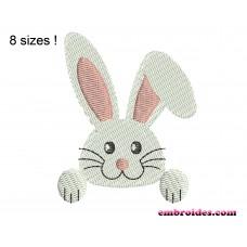 Rabbit White Embroidery Design