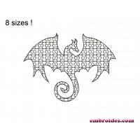 Dragon Silhouette Monochrome Embroidery Design