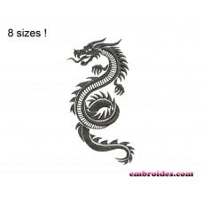 Dragon Snake Monochrome Embroidery Design