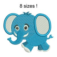 Image Elephant Blue Boy Embroidery Design