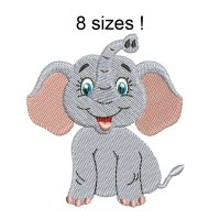 Image Elephant Glad Embroidery Design