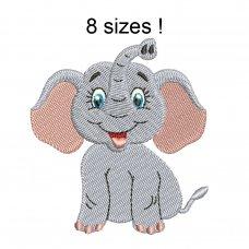 Image Elephant Glad Embroidery Design