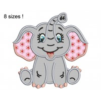 Image Сute Elephant Applique Embroidery Designs