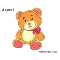 Bear Teddy Applique Embroidery Design