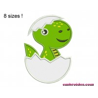 Image Baby Dinosaur in Egg Applique Embroidery Designs