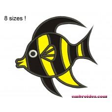 Fish Black Applique Embroidery Design