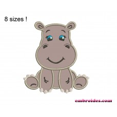 Hippo Sit Applique Embroidery Design