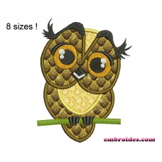 Image Owl Natural Applique Embroidery Design