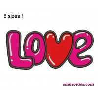 LOVE Word Applique Embroidery Design
