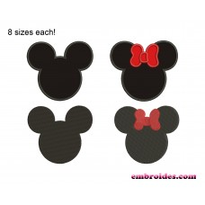 Mickey Mouse Minnie Mouse Applique Embroidery Design