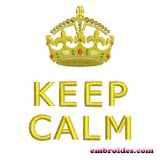 Image Embroidery Design Keep Calm Crown Gold