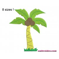 Image Palm Tree Coconut Embroidery Design