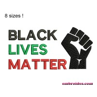 Image Fist Black lives Matter Embroidery Design