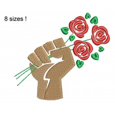 Image Fist Flowers BLM Embroidery Design