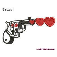 Image Gun Love Hearts Embroidery Design