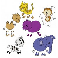 Image Embroidery Designs Funny Animals Cartoon