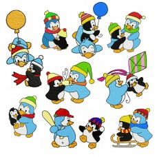 Image Embroidery Designs Happy Penguins