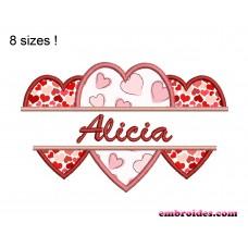 Hearts Signature Applique Embroidery Design