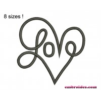 Love Heart Script Embroidery Design