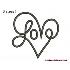 Love Heart Script Embroidery Design
