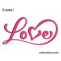 Love Script Embroidery Design
