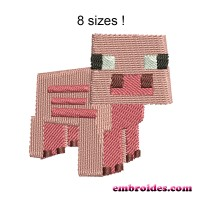 Image Pig Minecraft Embroidery Design