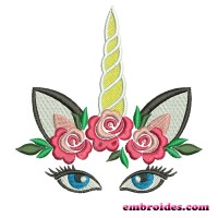 Image Embroidery Design Unicorn Flowers