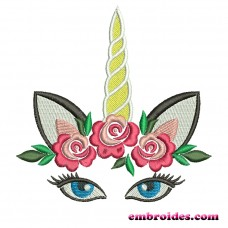 Image Embroidery Design Unicorn Flowers