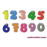 Image Funny Numbers With Eyes Embroidery Design