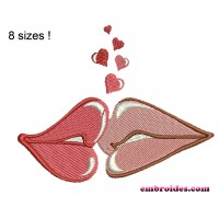 Lips Love Embroidery Design