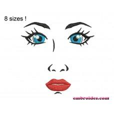 Face Girl Embroidery Design