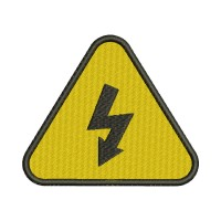Image Embroidery Design High Voltage Sign