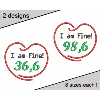I Am Fine Embroidery Design