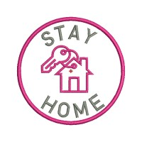 Image Embroidery Design Stay home key fob