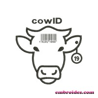 Image cow ID Bar Code Embroidery Design