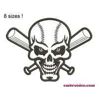 Image Skull Baseball Bats Embroidery Design