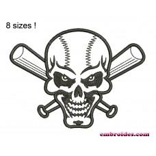 Image Skull Baseball Bats Embroidery Design