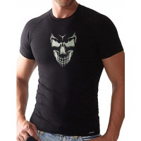 Photo Monochrome Skull Embroidery On T-Shirt